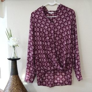 Pleione Blouse Maroon With White Floral Size M